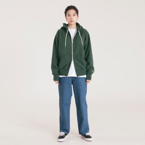 Loose Fit Zip-up Hoody -D.Green-