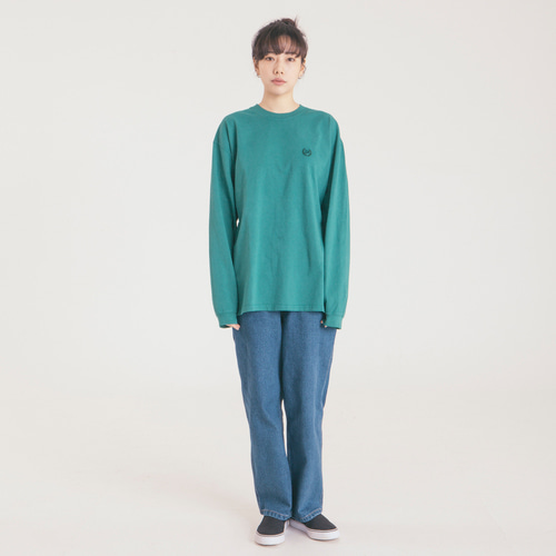 Dyeing Loose Fit Long Sleeve -Blue Green-